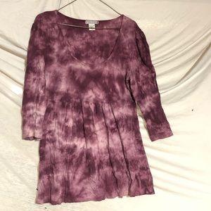 Purple Tie Dyed Babydoll Sweater L